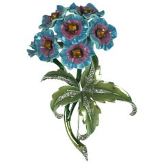 Mazer Verbena Flower Spray Enameled Brooch