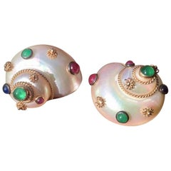 Mazza 14 Karat Gold Mother-of-Pearl Shell Ruby Emerald Sapphire Earrings