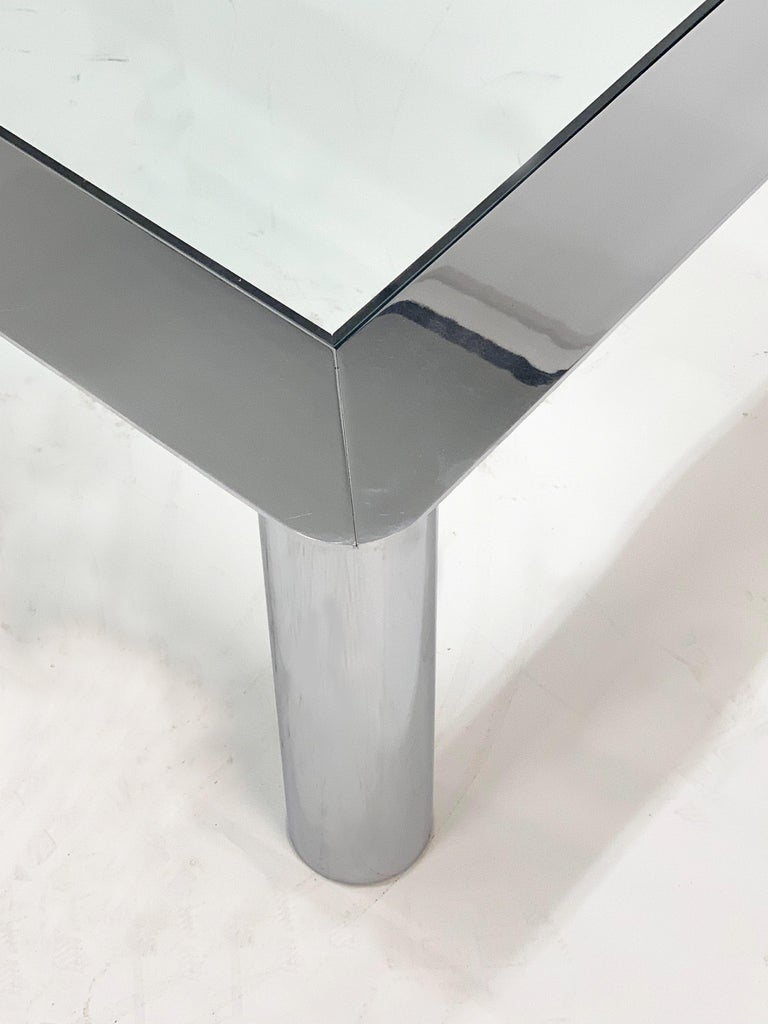 Mazza and Gramigna Steel and Glass Italian Coffee Table for Cinova, 1970s In Good Condition In Roma, IT