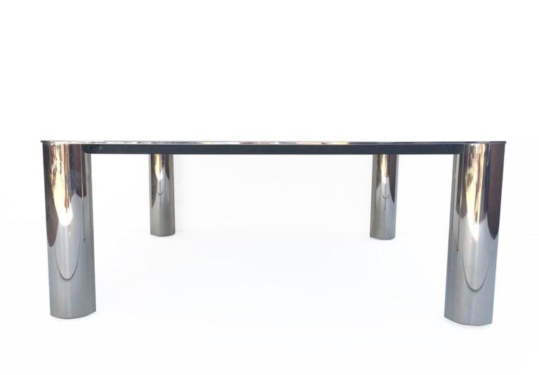 Mazza and Gramigna Steel and Glass Italian Coffee Table for Cinova, 1970s 1
