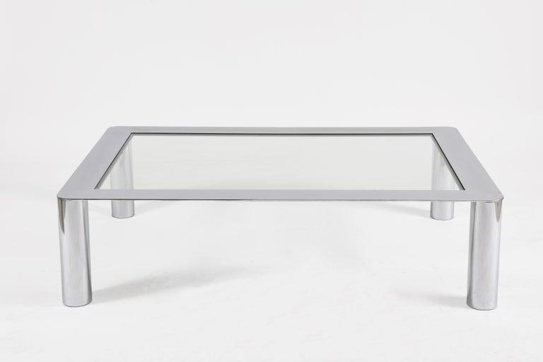 Mazza and Gramigna Steel and Glass Italian Coffee Table for Cinova, 1970s 3