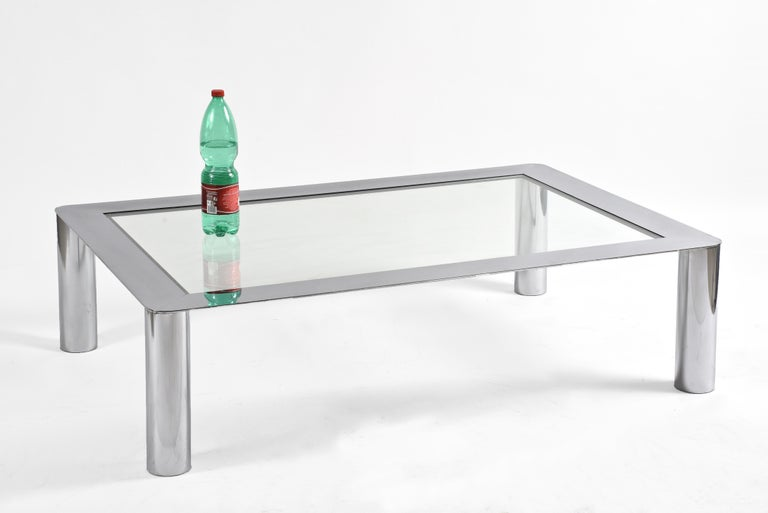 Mazza and Gramigna Steel and Glass Italian Coffee Table for Cinova, 1970s 4