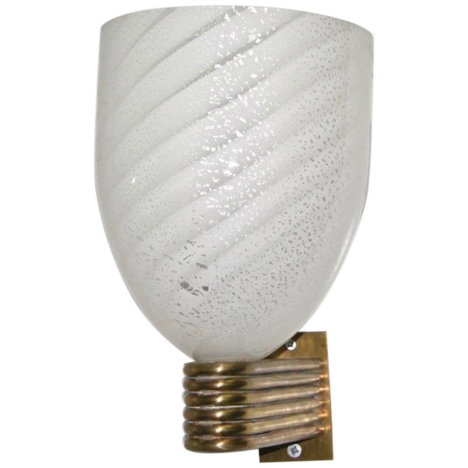 Mazzega 1960s Italian Art Deco Design White and Silver Murano Glass Bowl Sconce