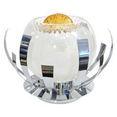 Mazzega 1960s Nickel White & Amber Murano Art Glass Flower Desk / Table Lamp