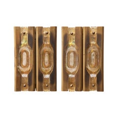 Mazzega Brass Textured Glass Sconces
