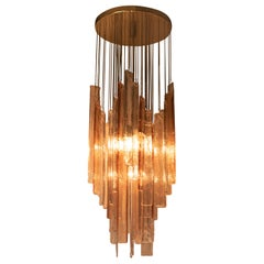 Mazzega Chandelier in Clear and Pink Glass, Italy, 1960's