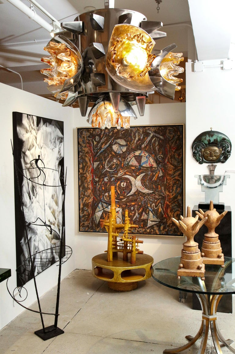 Mazzega Chandelier with Metal and Spikes  For Sale 3