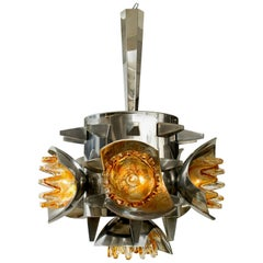 Mazzega Chandelier with Metal and Spikes