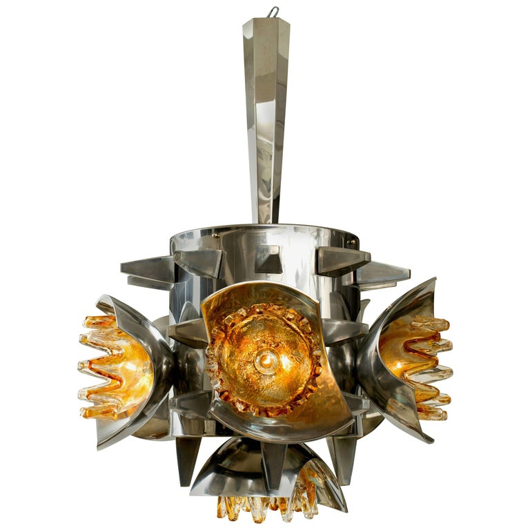 Mazzega Chandelier with Metal and Spikes  1