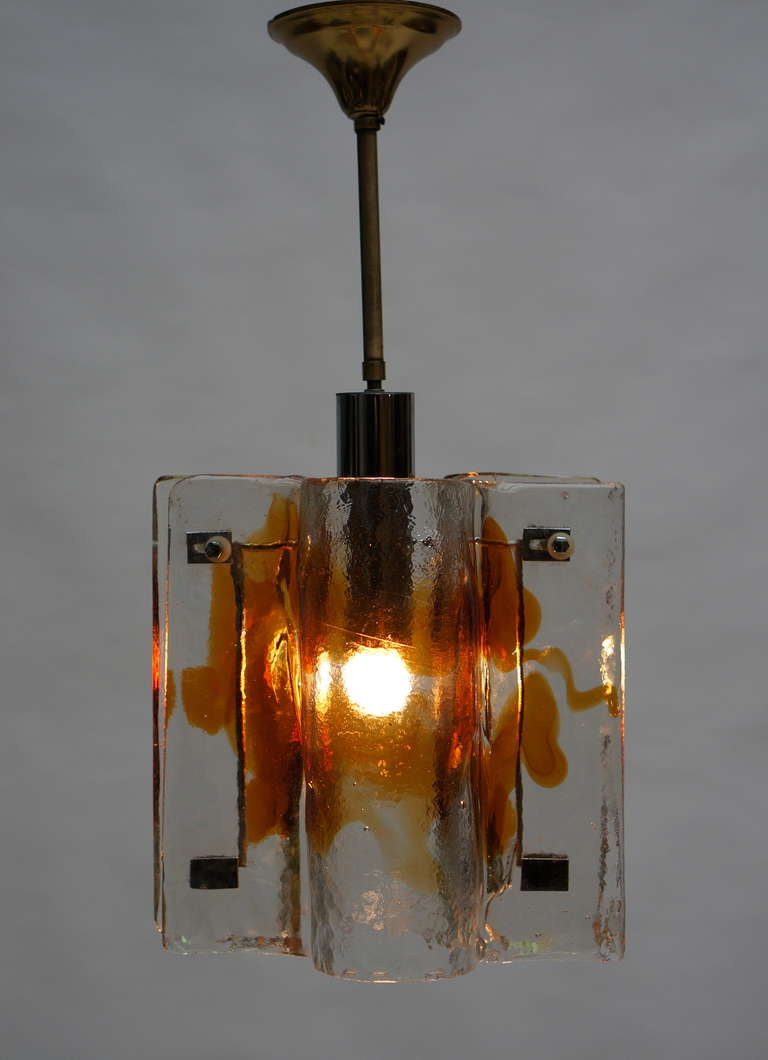 Mazzega clear and amber curved glass tile chandelier on chrome frame, Italy, 1970s.