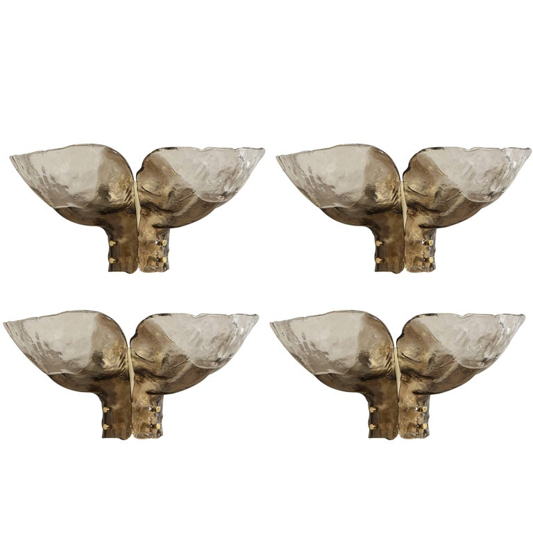 Mazzega Clear and Amber Glass Sconces