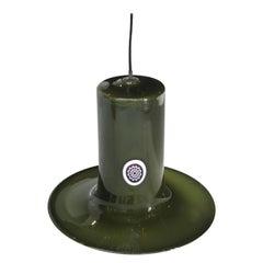 Mazzega Cylindrical Green Murano Glass Italian Suspension Lamp, 1960