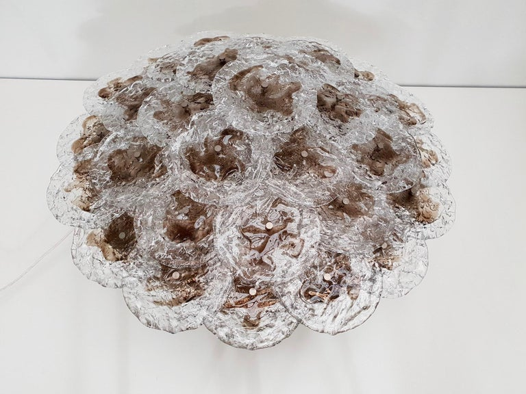 Mazzega Flush Mount Chandelier or Wall Light with 33 Murano Glass Discs For Sale 3