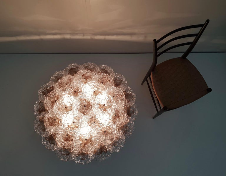 Mid-Century Modern Mazzega Flush Mount Chandelier or Wall Light with 33 Murano Glass Discs For Sale