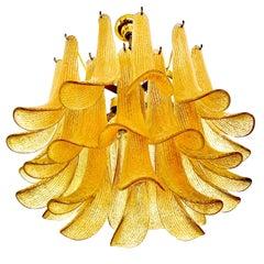 Mazzega Gold Glass chandelier Leaves Petals Gilt Frame, 1970