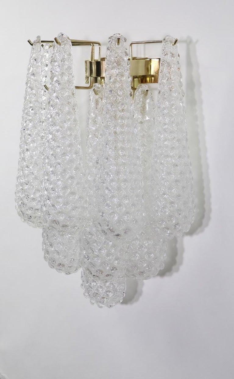 Italian Hollywood Regency Mazzega Style Murano Glass Drop Sconces In Excellent Condition For Sale In New York, NY