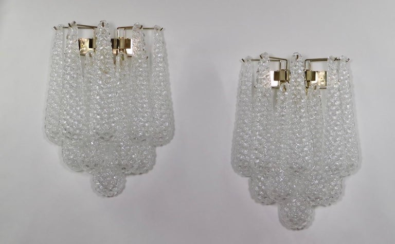 Late 20th Century Italian Hollywood Regency Mazzega Style Murano Glass Drop Sconces For Sale