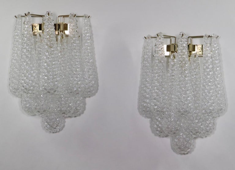 Brass Italian Hollywood Regency Mazzega Style Murano Glass Drop Sconces For Sale