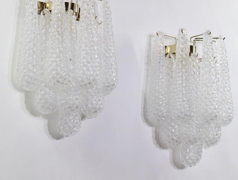Italian Hollywood Regency Mazzega Style Murano Glass Drop Sconces For Sale 1