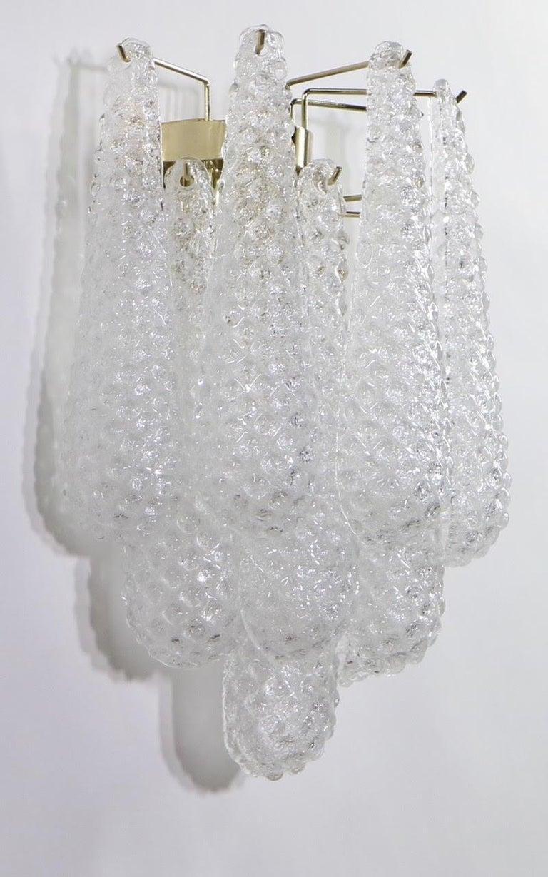 Italian Hollywood Regency Mazzega Style Murano Glass Drop Sconces For Sale 2