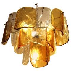 Mazzega Italian Mid-Century Modern Three-Tier Glass Chandelier