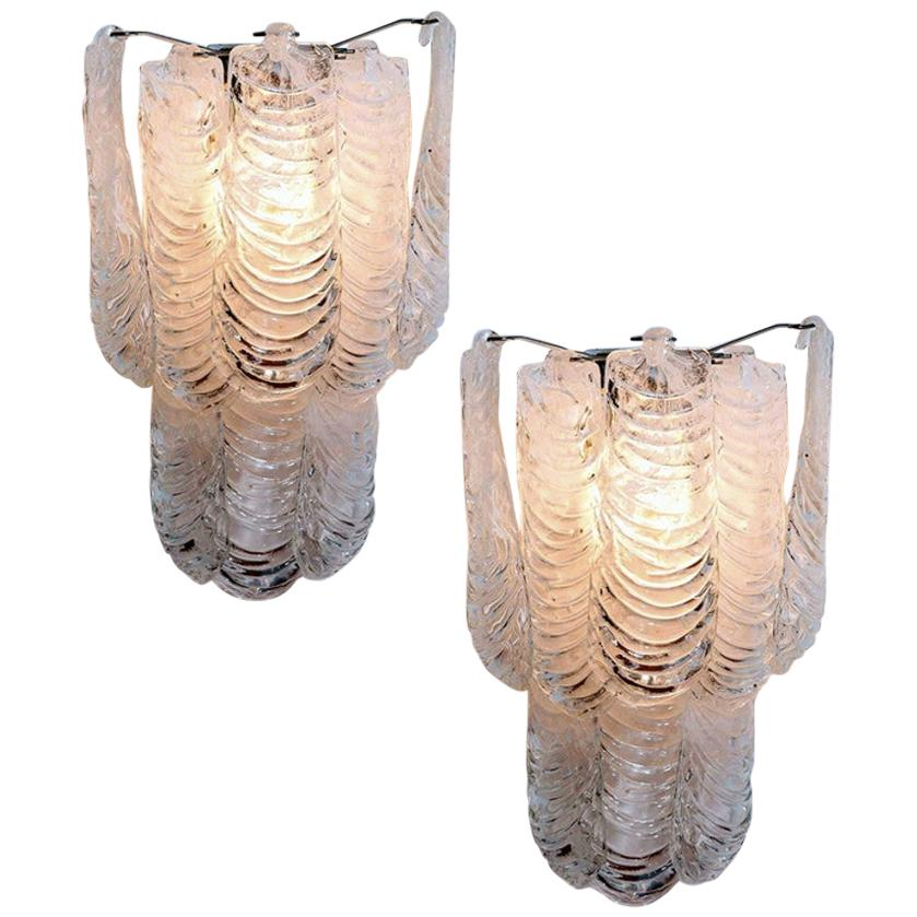 Mazzega Large Pair of Italian Murano Glass Wall Sconces