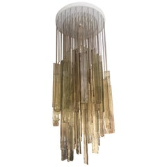 Mazzega Light Brown Murano Glass Cascading Chandelier, circa 1970