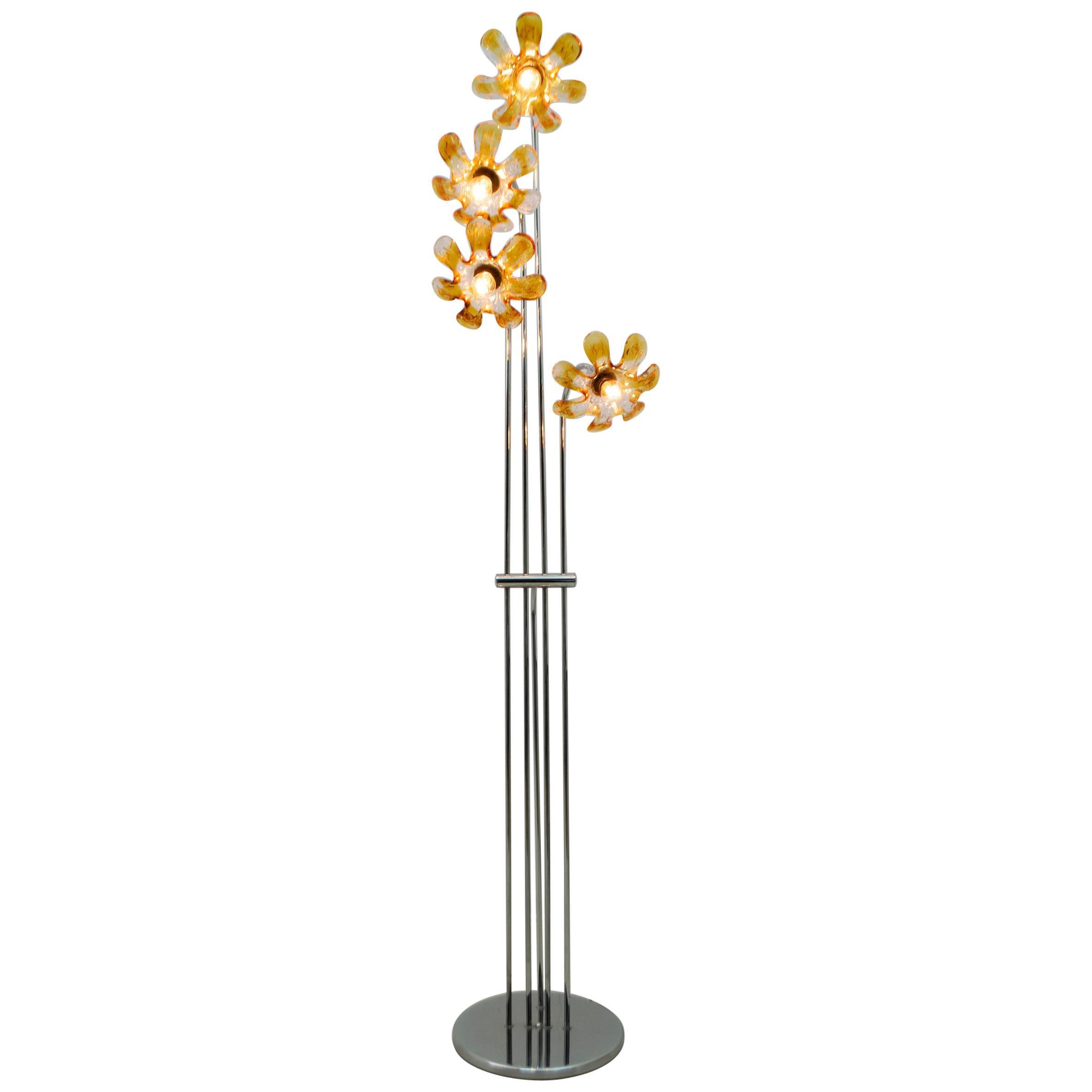 Mazzega Mid-Century Modern Italian Chrome and Murano Flowers Floor Lamp, 1970s
