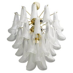Mazzega Mid-Century Modern Italian Murano Glass and Brass Chandelier, Late 1980s