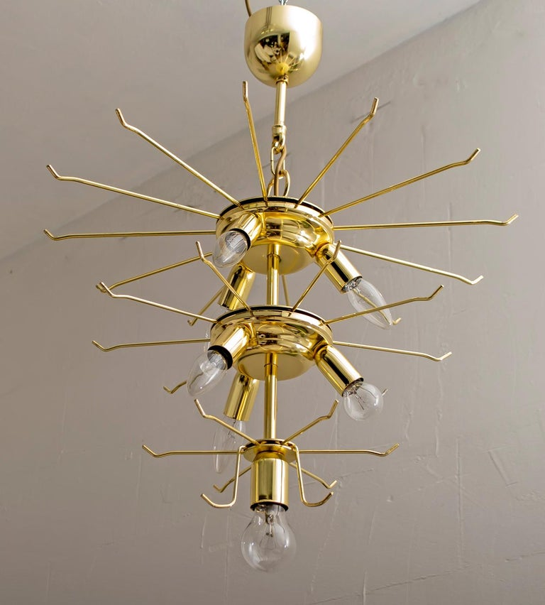Mazzega Mid-Century Modern Italian Murano Glass and Brass Chandelier, Late 1980s For Sale 5