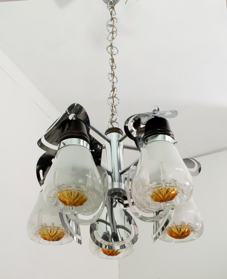 Late 20th Century Mazzega Mid-Century Modern Italian Murano Glass and Steel Chandelier, 1970s For Sale