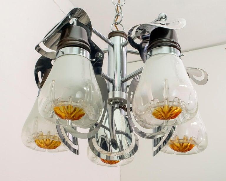 Mazzega Mid-Century Modern Italian Murano Glass and Steel Chandelier, 1970s For Sale 1
