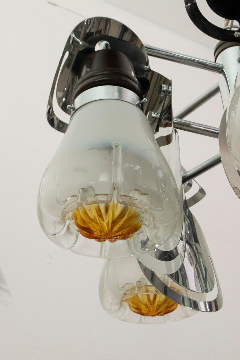 Mazzega Mid-Century Modern Italian Murano Glass and Steel Chandelier, 1970s For Sale 3