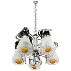 Mazzega Mid-Century Modern Italian Murano Glass and Steel Chandelier, 1970s