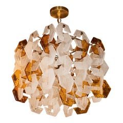 Mazzega Mid-Century Modern Murano Interlocking Amber and White Glass Chandelier