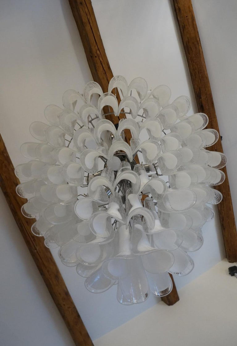 Mazzega Mid-Century Modern White Murano Glass Selle Chandelier, 1988s For Sale 10