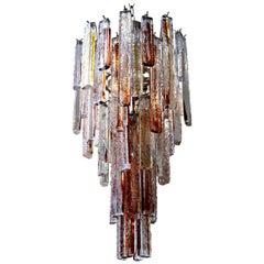Mazzega Murano Amber Fused Pendant Glass Chandelier Italian Vintage