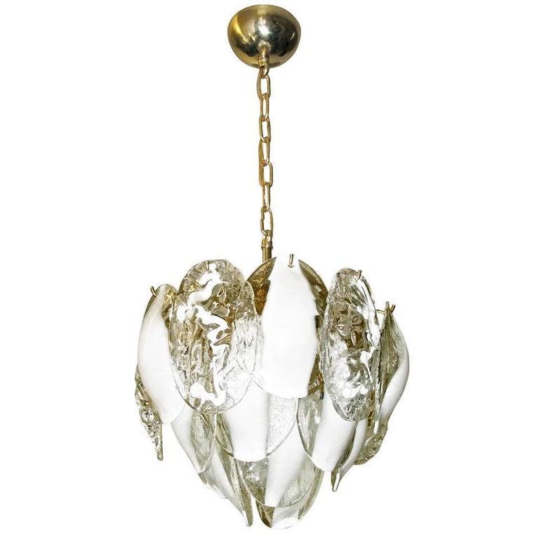 Mazzega Murano Clear White Glass Chandelier For Sale