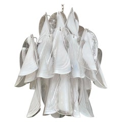 Mazzega Murano Clear and White Petal Chrome Chandelier