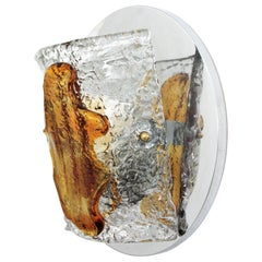 Mazzega Murano Large Wall Sconce, Amber and Clear Glass Shade and Chromed Base