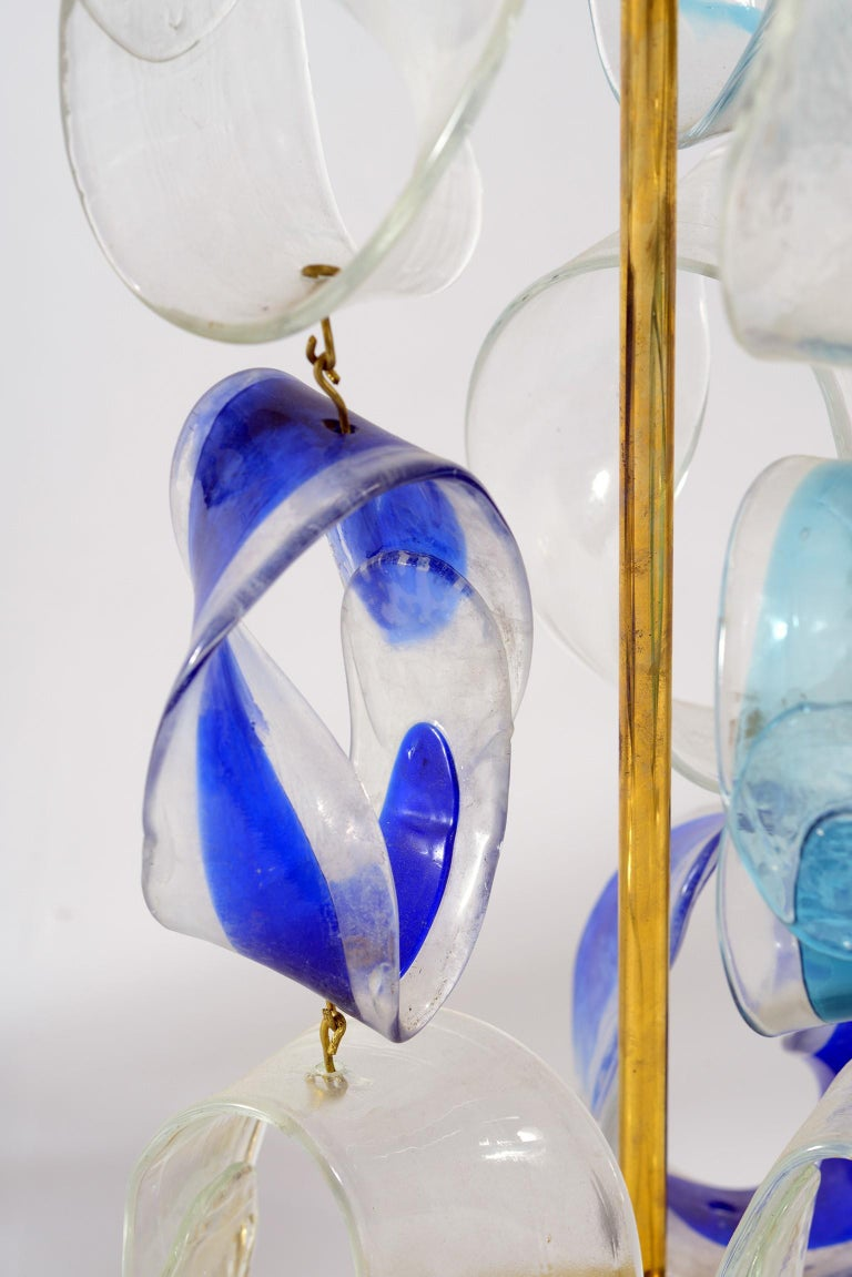 Mazzega Murano Midcentury Pair of Italian Glass and Brass Table Lamps, 1960 In Good Condition For Sale In Firenze, IT