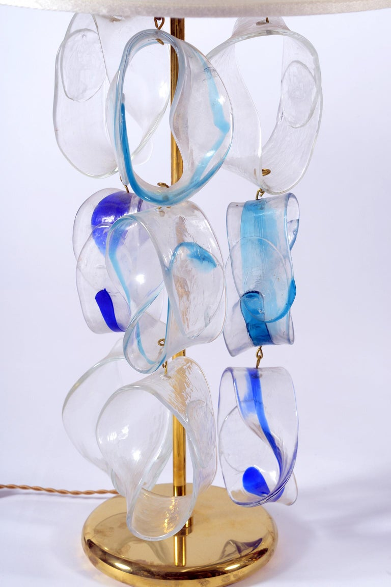 Mazzega Murano Midcentury Pair of Italian Glass and Brass Table Lamps, 1960 For Sale 2