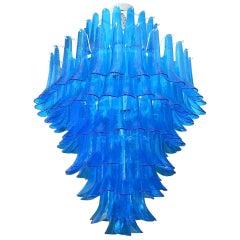Mazzega Murano Round Blue Color Mid-Century Chandelier, 1970
