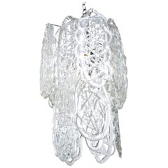 Mazzega Murano White Glass Pendant Chandelier Vintage