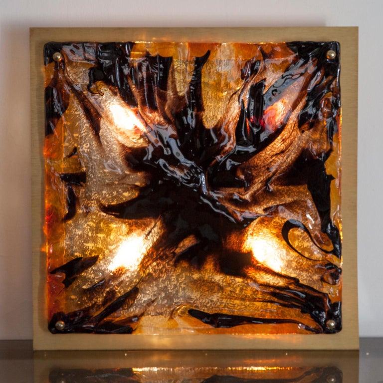 Brass Mazzega Square Murano Glass Wall Light Flush Mount For Sale