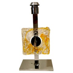 Mazzega Table Lamp In Nickel-Plated Metal And Murano Glass (Without Lampshade)