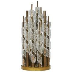 Mazzega Table Lamp Murano Glass Metal Crome, 1960, Italy
