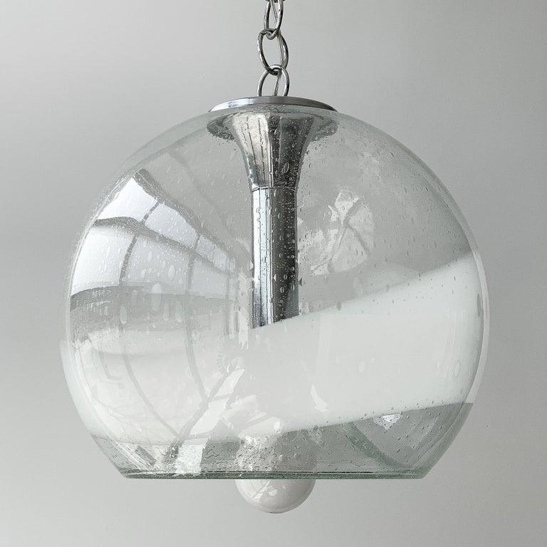 Late 20th Century Mazzega White Stripe Murano Glass Globe Pendant Chandelier For Sale