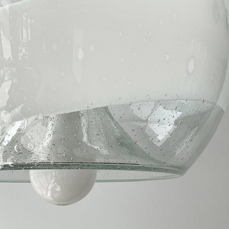 Mazzega White Stripe Murano Glass Globe Pendant Chandelier For Sale 2