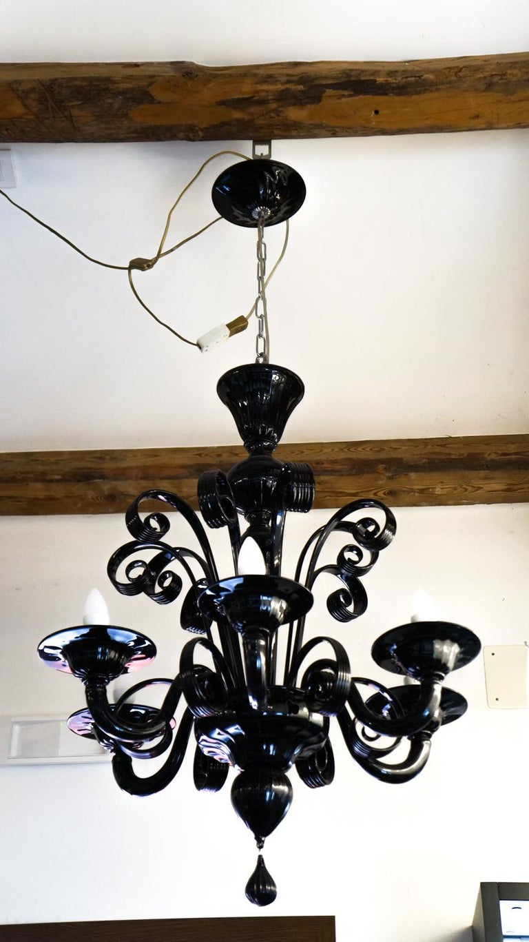 Mazzucato Mid-Century Modern Black Italian Murano Glass Chandelier, 1984 For Sale 9